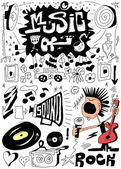 Doodle music, hand drawn design elements — Stock Photo