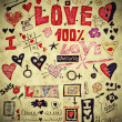 Stock Photo: Love doodle retro set, design elements, paper texture background