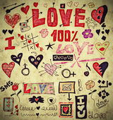 Love doodle retro set, design elements, paper texture background — Stock Photo