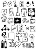 Simplified business design elements doodle icons — Stock Photo