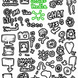 Doodle social media, Hand drawn background — Foto de Stock