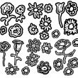 Set of flower doodles — Stock Photo