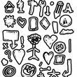 Doodle simplified business design elements, hand-drawn — Stock Photo
