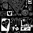 Concept love doodles, hand drawn design elements isolated on black — Stock Photo #34558315