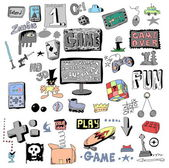 Game doodle set, hand drawn — Stock Photo