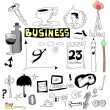Doodle set business icons, hand drawn isolated on white — Stockfoto