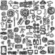 doodles set business icons, hand drawn background and texture — Stock Photo