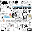 Stock Photo: Doodle concept of depression and suicide, psychology hand drawn icons and symbols