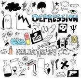 Doodle понятие депрессии и самоубийства, психология рисованной значки и символы — Стоковое фото