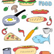 Doodle food background, hand drawn fast food — Stock Photo