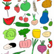 Vegetables doodle, hand drawn background — Stock Photo