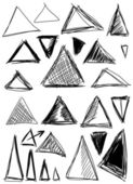 Doodle, set hand drawn shapes triangle — Stock Photo