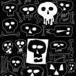 Doodle skull background, texture — Stock Photo