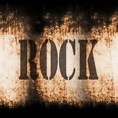 Rock music word, old rusty wall backgrounds and texture — Stock Photo