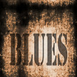 Blues word music abstract grunge background — Stock Photo