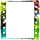 Blank colorful film strip frame isolated on white background — 图库照片