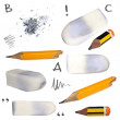 Set old pencil, erasers, isolated on white background, with clipping path — Stock Photo #37968697