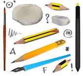 Set old pencil, erasers, brush, ink pen, black wireless stylus pen, isolated on white background, with clipping path — Stock Photo