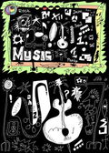 Doodle music isolated on black background, hand drawn design elements — Stock Photo