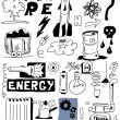 Hand draw energy doodle set, illustration power — Stock Photo