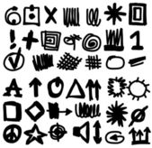 Doodle highlighter simplified symbols, hand drawn signs — Stock Photo