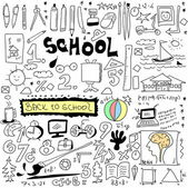School Doodle texture isolated on white background, hand drawn back to school — Stock Photo