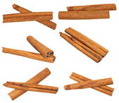 Set macro cinnamon sticks isolated on white background, clipping path, (high resolution) — Stock Photo