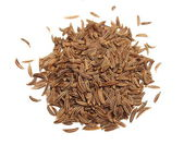 Pile macro caraway isolated on white background, spice cumin in grain clipping path — Stock Photo