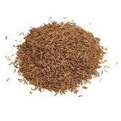 Pile spice cumin in grain isolated on white background — Stock Photo