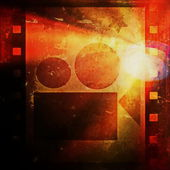 Old grunge film strip frame and movie projector — Stockfoto