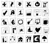 Doodle simplified symbols, hand drawn signs — 图库照片