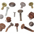 Set old metal nail and screw head with rusty wire isolated on white, design elements — Stock Photo #44500395