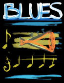 Concept blues and trumpet background — Stock Photo