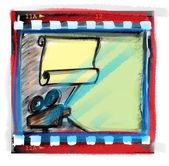 Doodle film strip frame and movie projector — ストック写真
