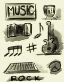 Hand drawn music concept — Stock Photo