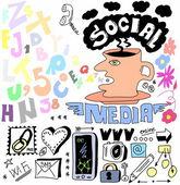 Hand drawn set of social media sign and symbol doodles elements — Foto Stock