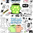Set social media hand drawn sign and symbol doodles elements — Stock Photo