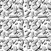 Doodle music word seamless texture and pattern — Stock Photo