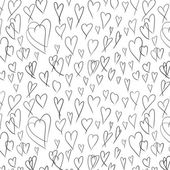 Doodle seamless pattern with hand painted hearts — Stock Photo