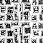 Doodle Music words seamless pattern — Stock Photo