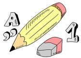 Doodle pencil, eraser — Stockfoto
