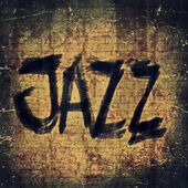 Jazz music word, old brick wall background and texture — Stock Photo