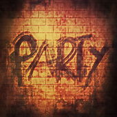 Party music word, old rusty brick wall background and texture — Stock Photo