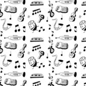 Doodle musical instrument pattern and background — Stock Photo