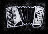 Retro doodle grunge accordion isolated on black — Stock Photo