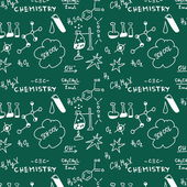 Doodle Chemistry pattern blackboard on green background — Stock Photo