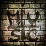 Music grunge brick wall background and texture — Stock Photo #49895485