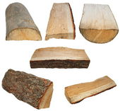Set log fire wood isolated on white background with clipping path (high resolution) — Foto de Stock