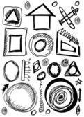 Doodle set hand drawn shapes, abstract object, circle, square, triangle — Stock fotografie