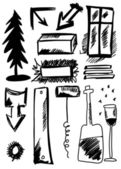 Doodle set hand drawn shapes, abstract object — Stock Photo